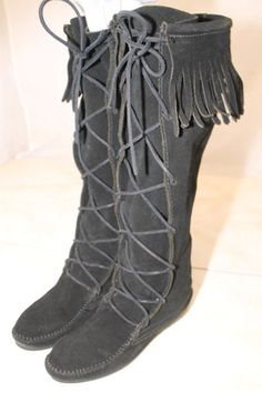 Minnetonka Womens 9/ 9-1/2Tall Classic Black Suede Leather Fringed Moccasin Boots | eBay