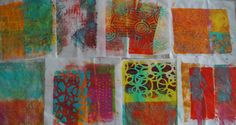 Ginger Wilson - Gelli printing on interfacing fabric experiment  I really liked using the interfacing for gelli printing and would definitely use it again. I have a project for these already, so I hope to get working on using these soon.