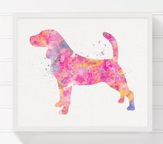 Pink Beagle Art Beagle Poster Watercolor Beagle by MiaoMiaoDesign