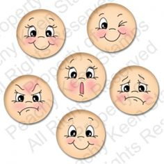 PK-491 Everyday Character Faces 1 1/8″
