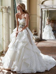 striped organza wedding dress