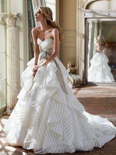 striped organza wedding dress