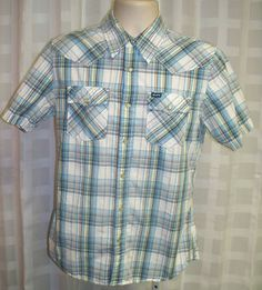 HOLLISTER COMPANY WESTERN STYLE PLAID SHORT SLEEVE MEN'S SMALL Starting at $9.98