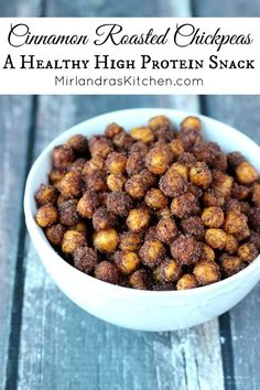 These sweet, crunchy chickpeas deliver in the snack department! You only need four ingredients for this healthy, high protein, gluten free and vegan treat!