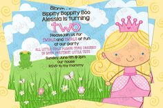 Princess and Frog Birthday Party Invitation  DIGITAL by babyfables, $12.50