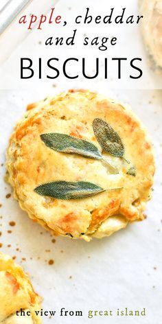 Apple, Cheddar and Sage Biscuits ~ enjoy these cheesy biscuits for breakfast, with a warm bowl of soup, or in a Thanksgiving bread basket! These flaky biscuits are laminated with fresh sage for a pretty presentation. Tasty Bread Recipe, Healthy Bread Recipes, Apple Recipes, Beef Recipes, Sage Biscuit Recipe, Bread Head, Scones Ingredients, Flaky Biscuits, Bowl Of Soup