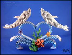 Dolphins - 3D Origami - by ~Daantjuh-3DO on deviantART
