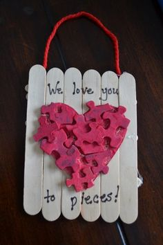 "Mother's Day ""Love You to Pieces"" gift. #mothersday craft for #children."