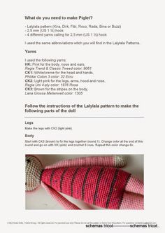 LalyLala - Modification Pattern for Piglet - gurumi var - Picasa Web Album