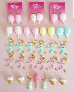 Pastel Unicorn earrings and Pink Cotton candy jewelry handmade by Fatally Feminine Designs | A Pastel Wardrobe dream!