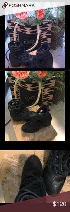 Free People Carrera ankle boot Black It says made in Portugal feels like very soft and thick leather but does not say that it is anywhere Free People Shoes Ankle Boots & Booties