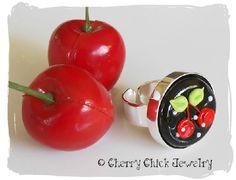 Cherry Lampwork Ring #Cherries #Lampwork #CherryChick #Ring #Jewelry #CherryJewelry
