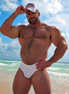 Hairy Muscle Bear. Beards. Men. Beach. Woof!