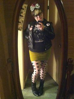 hot chubby punk girl, leather, tight skirt, poka dot tights
