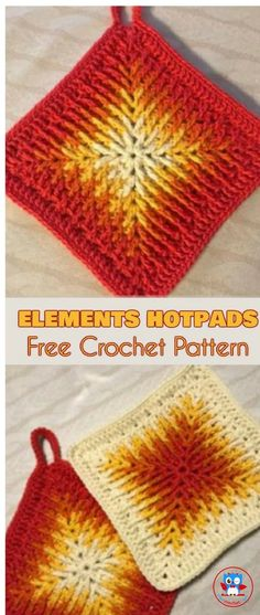 Elements Cal Square for Blankets, Pillows, Centrepieces - Free Crochet Pattern a. Elements Cal Square for Blankets, Pillows, Centrepieces - Free Crochet Crochet Afghans, Crochet Pillow Patterns Free, Crochet Coaster Pattern, Crochet Potholders, Crochet Motifs, Free Pattern, Cloth Patterns, Afghan Patterns, Point Granny Au Crochet