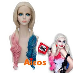 Handmade Long Curly Pink Blue mix Blonde Lace Front Wig for suicide Harley Quinn #Aicos #FullWig #CosplayConventionTVPartyLittleMermaid