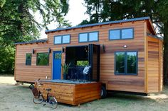 The Luxurious tiny house is a 280 sq ft home made for five people. The home is designed and built by luxury tiny house company, Tiny Heirloom, of Portland, O. Tiny House Kits, Tiny House Company, Tiny House Trailer, Tiny Houses For Sale, Tiny House Living, Tiny House Plans, Tiny House On Wheels, Little Houses, Tiny House Luxury