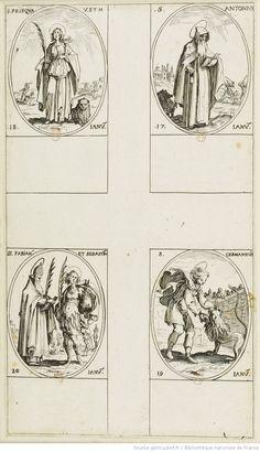 [Les images des saints]. [21-24], [Les images des saints. Sixième planche] : [janvier] : [estampe] / [Jacques Callot]