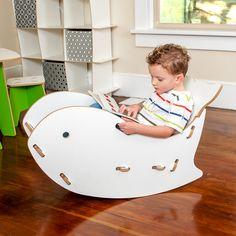 silla balancín de madera para niños
