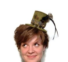 Steampunk Hat Mini Top Hat Victorian Style Hat by SeamsVictorian, $45.00