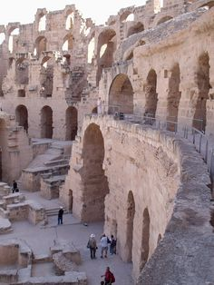 El Djem, Tunisia. An amazing coliseum, left in the dry desert heat by the Romans. Far less crowded than Rome or Verona, very atmospheric.