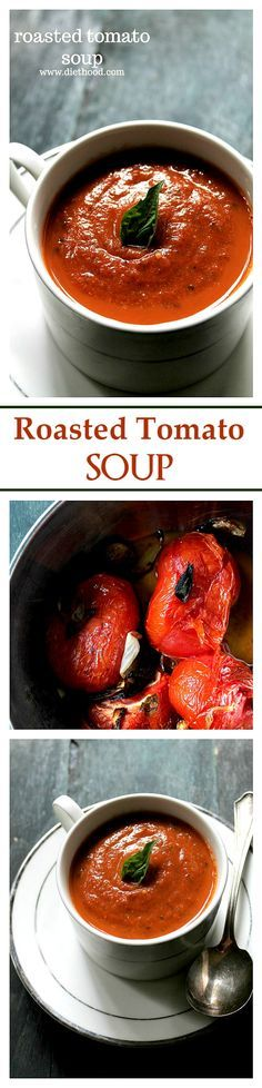 A delicious Roasted Tomato Soup made with garden fresh roasted tomatoes, garlic, onions, and basil.