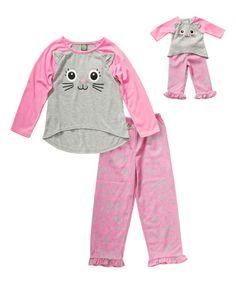 Pink & Gray Kitty Pajamas & Doll Pajamas -  Toddler & Girls #zulily…
