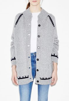 Inspiral Cardigan - Motif throw-on knit - Charcoal - MiH