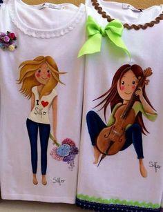 Blusas Dress Painting, T Shirt Painting, Fabric Painting, Big Girl Fashion, Kids Fashion, Diy Shirt, Tee Shirts, Painted Clothes, Silk Ribbon Embroidery