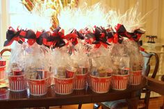Use a microwave popcorn tub as base for gift bag for out-of-town wedding guests