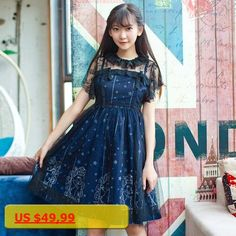 Sweet Sky Constellation Cute Lolita Dress Starry Night Printed Mori Girl JSK Dress with Lace Overlay by iDream