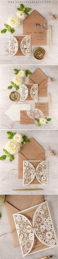 Romantic & Elegant Laser cut lace Wedding Invitation #romantic #eco #lace #wedding