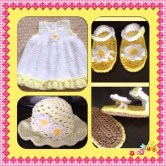 Crochet daisy hat, dress and sandals. £18 for 3 pc set