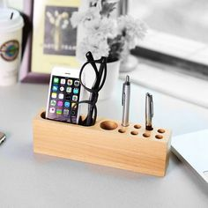 Iphone Holder, Iphone Stand, Cell Phone Holder, Iphone 6, Pen Holder Diy, Wood Pen Holder, Wooden Phone Holder, Name Card Holder, Best Pens