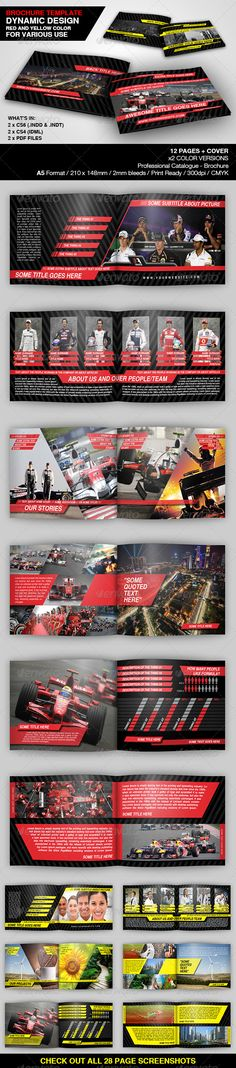Dynamic Brochure Template  #GraphicRiver         This is a multipurpose brochure, with dynamic design people would love to see. With nice pictures this will be the best way for you to show what you can do or what you have to offer. This template is ideal for any scenarios. It can be formula team presentation or showing which lab services you are providing.  	 12 PAGES + COVER PAGES (2)  	 Comes in 2 color versions  	 Files are included: .INDD / .INDT / .IDML / .PDF  	 A5 Format / 210×148mm…