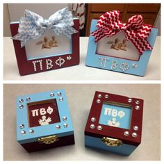 Pi Phi crafts! picture frames & pin boxes. #piphi #pibetaphi