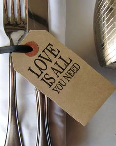 200 Rustic Wedding Place Cards-Rustic Wedding Decor-Rustic Wedding Table-Love Is All You Need-Rustic Napkin Ties-Rustic Wedding Favors