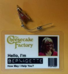 The Big Bang Theory ID Badge Cheese Factory Hello I M Bernadette Prop Cosplay | eBay