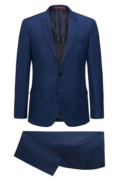 Hugo Boss Slim-fit yarn-dyed suit in virgin wool serge - Blue Business Suits from HUGO for Men in the official HUGO BOSS Online Store free shipping