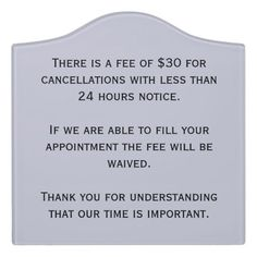 Cancellation Policy Plaque  Salons Spa And Brow Studio
