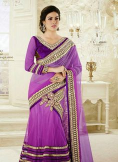 Lavender golden rich combination net valvet material embroidery patch work decent mahotsav lehenga saree Rs.8,796.00 INR – New India Fashion