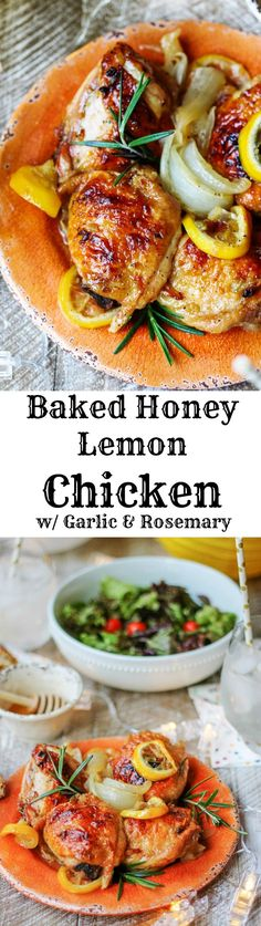 Baked Honey Lemon Chicken with Garlic and Rosemary is a fantastic dish for a date night in. It tastes super delicious and requires minimal preparation...a win-win combination.#NationalHoneyMonth #SavorGoldenMoments #Ad