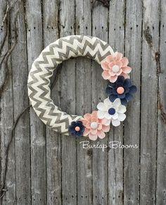 Spring Wreath, Summer Wreath, Burlap Wreath, Navy Peach Wreath, Year Round Wreath, Wedding Wreath, Home Decor
