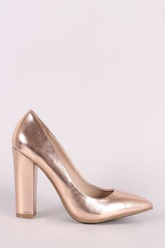 This single sole pump features a pointy toe silhouette, scooped vamp, and wrapped chunky heel. Finished with a lightly padded insole and easy slide style. Material: Vegan Patent Leather (man-made)Sole: SyntheticMeasurement Heel height: (approx) Leather Men, Patent Leather, Chunky Heel Pumps, Gold Pumps, Pump Shoes, Heeled Mules, Womens Fashion, Bamboo, Metallic