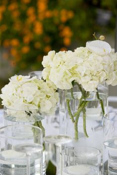 Wedding In Greece White Flower Arrangements