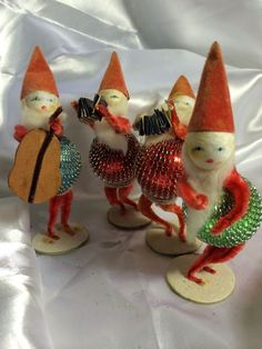 Vintage Pipe Cleaner Spun Cotton Tinsel Mesh Santa Pixie Christmas Band Figures