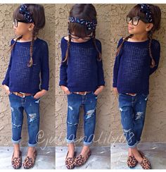 Young #Fashionista wearing a blue #sweater, #RippedJeans, #RolledJeans and #LeopardPrintFlats.... #SmokingSlippers #ToddlerFashion #LeopardPrint #LeopardPrintSmokingSlippers