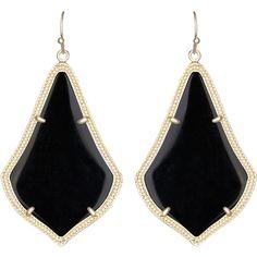 Kendra Scott Alexandra Earrings ($69) ❤ liked on Polyvore featuring jewelry, earrings, accessories, brincos, black, kendra scott earrings, black earrings, 14 karat gold earrings, 14k earrings and 14 karat gold jewelry