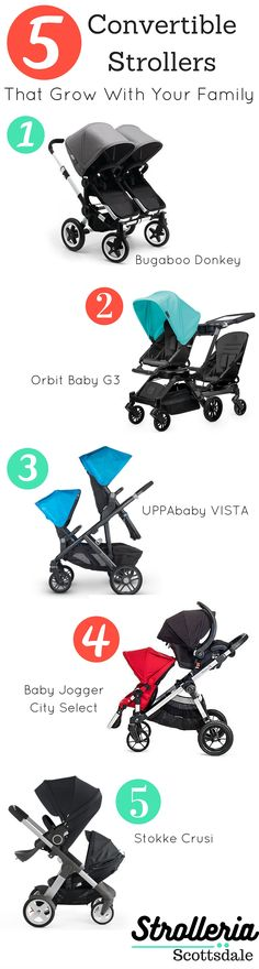 A single stroller works until Baby No. 2 comes along. Now what? Consider a convertible stroller, one that can be both a single and a double. We compare the pros and cons of convertible strollers from Baby Jogger, UPPAbaby, Orbit Baby, Stokke and Bugaboo.