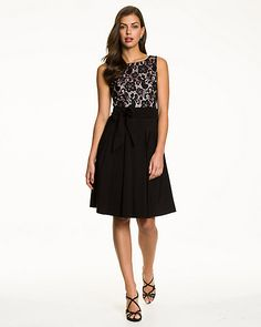 Lace & Bengaline Fit & Flare Cocktail Dress - A dainty fit & flare silhouette is sculpted from lace and bengaline for a flirty cocktail look. We love how a sash detail perfectly cinches the waist.